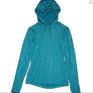 Nike Teal embossed dri-fit hoodie